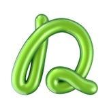 Mayúscula verde brillante de la letra D representación 3d Imagen de archivo