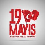19 mayis Ataturk`u Anma, Genclik ve Spor Bayrami vector illustration