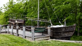 Free MAY 18 2019, NEBRASKA CITY, NE, USA - Barge Keelboat Replica - At Missouri River Basin Lewis And Clark Center Royalty Free Stock Photos - 166936558