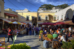 May 2008 - people in little square of Capri, famou Stock Photography