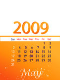 May 2009. Month of may 2009 calendar on isolated background Royalty Free Stock Photo