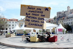 May 2011 - Lisbon, Rossio camp. The camp which began on Thursday in the Spanish Consulate and who moved to the Largo do Rossio on Friday does not lower his arms Royalty Free Stock Photo