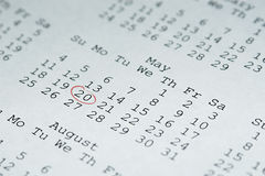 May 20th - Passover Starts. This calendar has May 20th (The beginning of Passover in 2008) circled in red Stock Photos