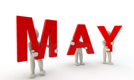 May. 3D humans forming red word May made from 3d rendered letters isolated on white stock illustration