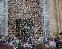 Free May 25, 2019, Marsala, Italy, Italian Catholic Wedding In Church With Many Guests And Salute From Papers And Rice Royalty Free Stock Photo - 153031685