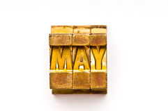 May. The Month May done in letterpress type. Part of a calendar series royalty free stock images