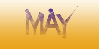 May. Blue text may on orange background. Abstract illustration Royalty Free Stock Images
