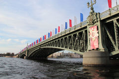 May 9 in St. Petersburg. Bridge across the Neva River in St. Petersburg, decorated for the Victory Day royalty free stock photography