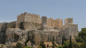 31 may 2016 -Acropolis in Athens of Greece with tourist afar - time lapse stock video footage