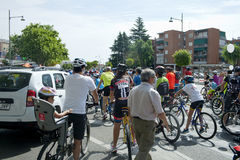 MAY 28, 2017, ALCOBENDAS, SPAIN: traditional Bicycle parade. b. MAY 28, 2017, ALCOBENDAS, SPAIN: traditional bicycle parade. Hundreds of cyclists on a city stock photos