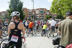 MAY 28, 2017, ALCOBENDAS, SPAIN: traditional bicycle parade. Hundreds of cyclists on a city street. XVII edition of the day of the traditional bicycle parade royalty free stock images