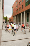 MAY 28, 2017, ALCOBENDAS, SPAIN: traditional Bicycle parade. Hundreds of cyclists on a city street. XVII edition of the day of the traditional bicycle Stock Images