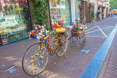 Amsterdam, the Netherlands. Typical Dutch duck rides a bicycle. Stock Photos