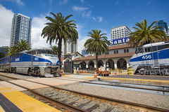 May 06, 2016: Amtrak #463 and Amtrak #456. May 06, 2016: Amtrak #463 meets Amtrak #456 at Santa Fe Depot in San Diego, California stock images