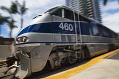 May 06, 2016: Amtrak #460. Pulls into Santa Fe Depot in San Diego, California stock photo