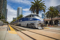 May 06, 2016: Amtrak #460. Pulls into Santa Fe Depot in San Diego, California stock image