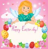 Mały anioł w niebie, Wielkanocny kartka z pozdrowieniami Czarodziejska kreskówka Zdjęcia Stock