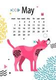 May att calendar 2018 med amerikanska hårlösa Terrier vektor illustrationer