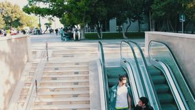 May 9, 2017, Baku, Azerbaijan: people descend and climb the escalator in metro stock video