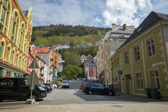 May 10 2016, Bergen, Norway, A street life of people living in Bergen. With old building along tge road Royalty Free Stock Photos