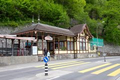 Brienz Rothornbahn or tourism train station closed during off-season make tourists disappointed and go home empty handed. royalty free stock photo