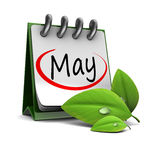 May calendar. 3d illustration of calendar with may page and green leaf, over white background Stock Photo