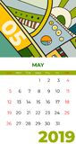 2019 May calendar abstract contemporary art vector. Desk, screen, desktop month 05,2019, colorful 2019 calendar template, agenda stock illustration