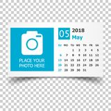 May 2018 calendar. Calendar planner design template with place f. Or photo. Week starts on sunday. Business vector illustration Royalty Free Stock Photography