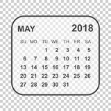 May 2018 calendar. Calendar planner design template. Week starts. On Sunday. Business vector illustration Stock Photos