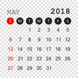 May 2018 calendar. Calendar planner design template. Week starts. On Sunday. Business vector illustration Stock Photography