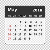 May 2018 calendar. Calendar planner design template. Week starts Stock Images