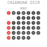May 2018 calendar. Calendar planner design template. Week starts. On Sunday. Business vector illustration Royalty Free Stock Photography