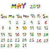 May 2017 calendar. Cute May 2017 calendar for kids Stock Image