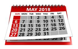 May 2018 calendar. 3d illustration of may 2018 calendar isolated over white background Stock Images