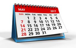 May 2017 calendar. 3d illustration of may 2017 calendar over white background Stock Photos
