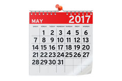 May 2017 calendar, 3D rendering. On white background Stock Photo