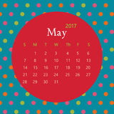 2017 May calendar design with geometric background | colorful modern business Royalty Free Stock Image