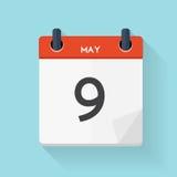 May 9 Calendar Flat Daily Icon. Vector Illustration Emblem.  Stock Image