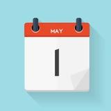 May 1 Calendar Flat Daily Icon. Vector Illustration Emblem.  Stock Photos