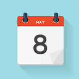 May 8 Calendar Flat Daily Icon. Vector Illustration Emblem.  Royalty Free Stock Images