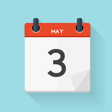 May 3 Calendar Flat Daily Icon. Vector Illustration Emblem.  Royalty Free Stock Images