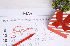 Calendar with gift box. May calendar with gift box. Birthday concept Royalty Free Stock Image