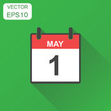 May 1 calendar icon. Business concept calendar pictogram. Vector. Illustration on green background with long shadow Stock Photos