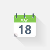 18 may calendar icon. On grey background stock illustration