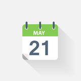 21 may calendar icon. On grey background royalty free illustration