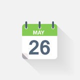 26 may calendar icon. On grey background Royalty Free Stock Images