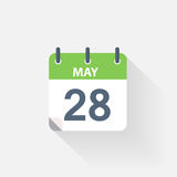 28 may calendar icon. On grey background Royalty Free Stock Photos