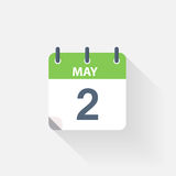 2 may calendar icon. On grey background royalty free illustration