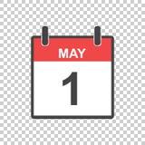 May 1 calendar icon. International womens day. Vector illustrati. On in flat style Stock Illustration