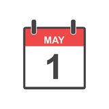 May 1 calendar icon. Labour day, Vector illustration in flat sty. Le Royalty Free Stock Photography